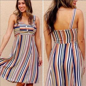 NWT Eva Rose Elise Multi-Stripe Halter Strap Dress